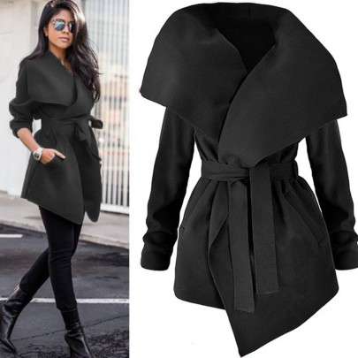 Black Pockets Sashes Turndown Collar Long Sleeve Fashion Trench Coat