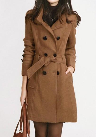 Manteau officier en laine double boutonnage avec ceinture mode décontracté femme khaki