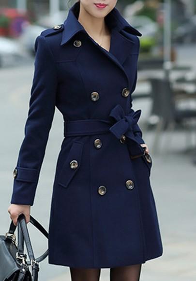 Dunkelblau Knöpfe Taschen mit Gürtel Umlegekragen Langarm Mode Warmer Winter Wollmantel Damen