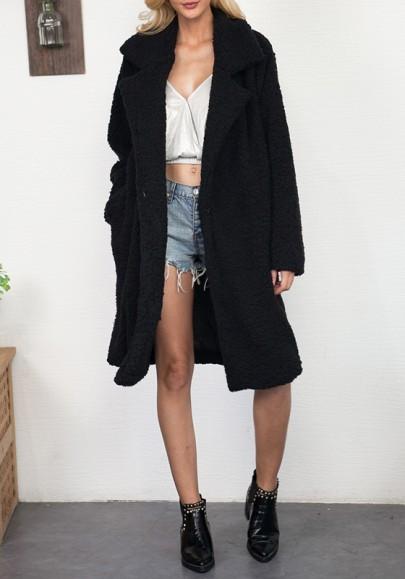 Cappotto tasche colletto turndown manica lunga moda inverno nero