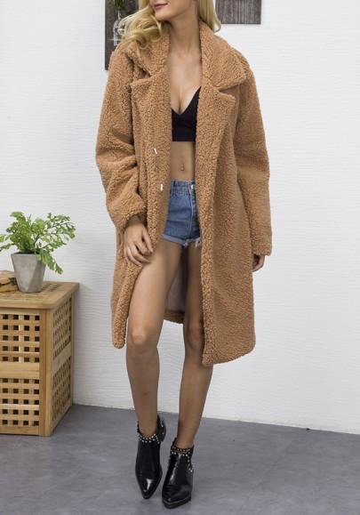 Kamel Taschen Umlegekragen Langarm Winter Warmer Pelzmäntel Teddy Mantel Mode Damen