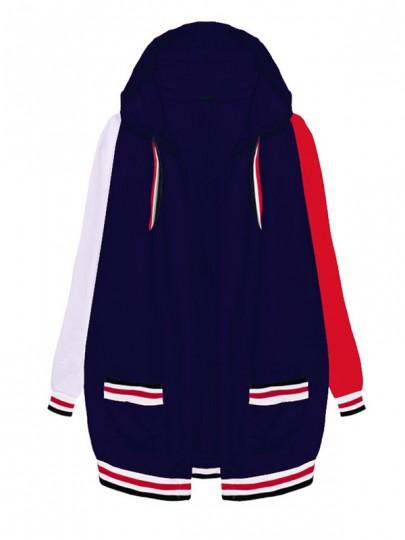 Dunkelblau Rot Gestreifte Taschen mit Kapuze Langarm Mode Damen Herbst Mantel Sweatjacke Hoodie