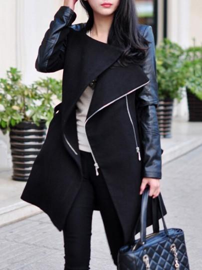 Abrigo cremallera irregulares de cuero de la pu cuello de cobertura manga larga moda negro