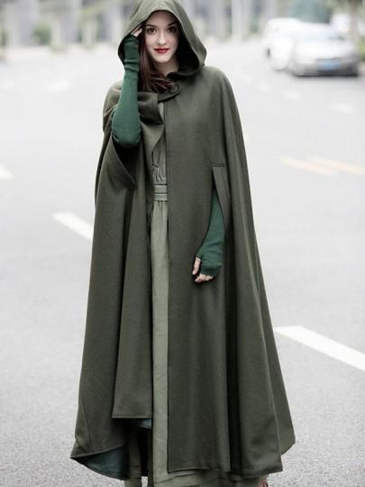 Manteau longues en laine à capuche asymétrique femme hiver cape kaki