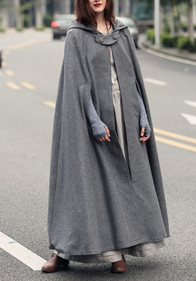 Grey Irregular Hooded Draped Elegant Cape Wool Cloak Coat