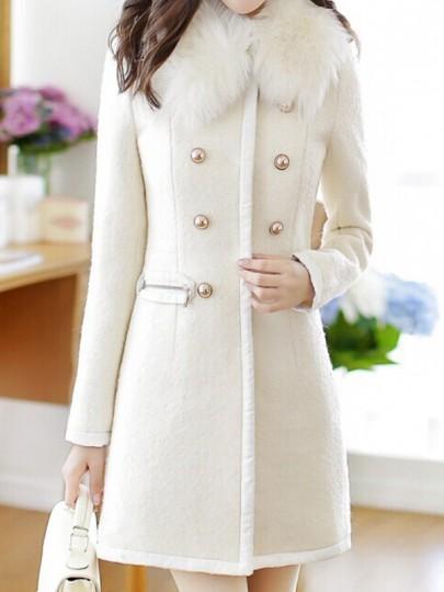 Mi-longue manteau en laine double boutonnage col fourrure élégant femme blouson blanc