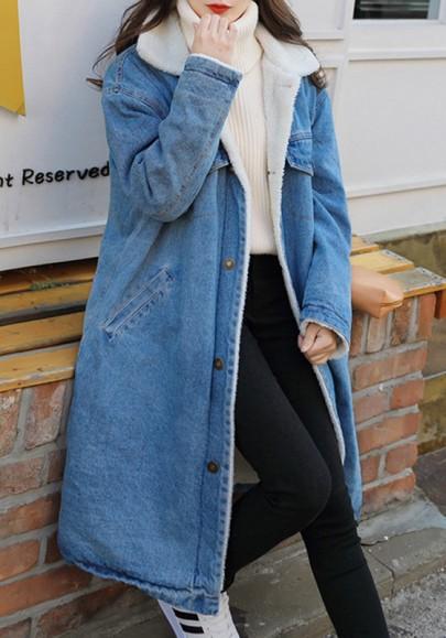 Hellblaue Knöpfen Taschen Langarm Lange Lambwool Jeansjacke Mit Teddyfutter Oversize Wintermantel Damen