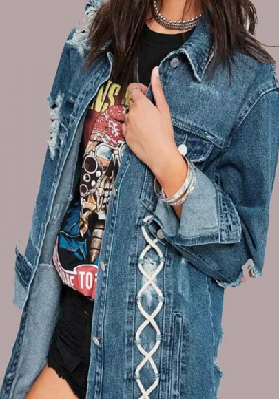 Blaue Taschen Knöpfe Ripped Zerrissene Umlegekragen Langarm Schnürung Distressed Denim Mode Jeans Jacke Damen