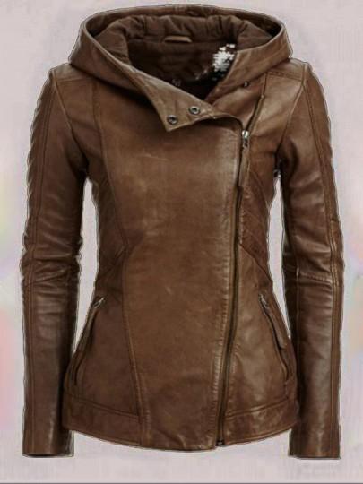 Braun Taschen Mit Kapuze V-Ausschnitt Schrägem Reißverschluss Langarm Warme Winter Dicke Mantel Lederjacke Damen
