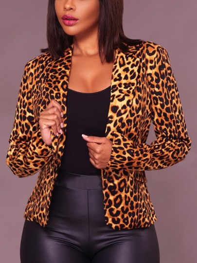 Brown Leopard Print Buttons Long Sleeve Turndown Collar Office Worker Blazer