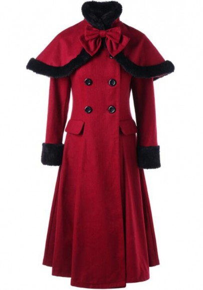 Wine Red Bow Drawstring Tie Back Fur Collar Long Sleeve Double Breasted Long Coat
