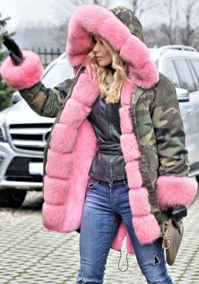 Parka coat tasche mimetiche collo in pelliccia con cappuccio manica lunga fatica verde militare