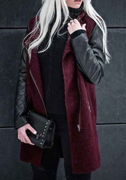 Wine Red Patchwork Pockets Turndown Collar Zipper Casual Jackets Coat