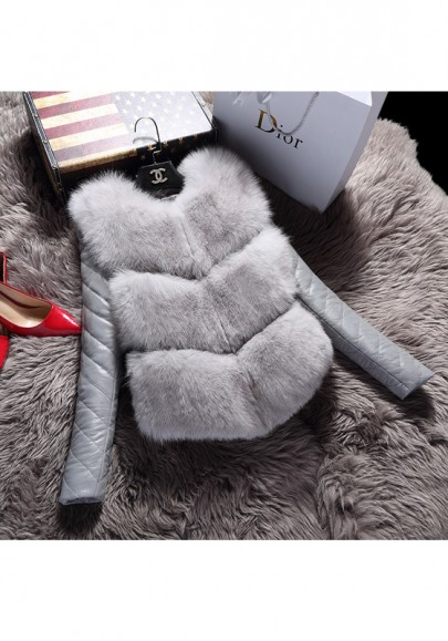 Grey Patchwork Irregular Fur Round Neck Long Sleeve Casual Coat