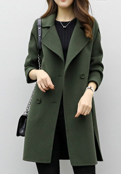Armee-Grün Schlitz Taschen Doppelreiher Langarm Wollmantel Wintermantel Mantel Damen