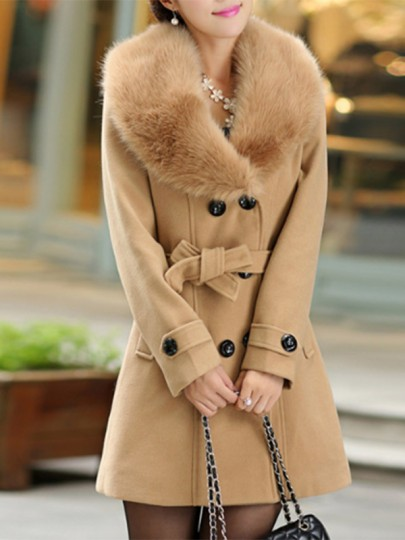 Camel Buttons Pockets Bow Sashes Fur Collar Long Sleeve Thick Coat