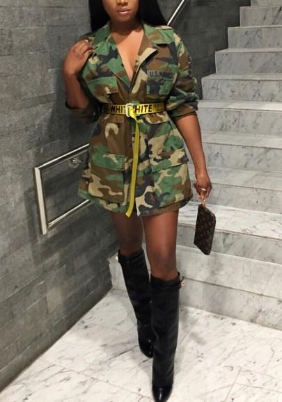 manteau avec poches ceinture col revers style militaire d contract femme camouflage kaki. Black Bedroom Furniture Sets. Home Design Ideas