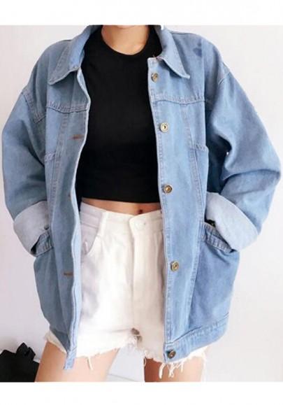 Hellblaue Taschen Einreiher Boyfriend Oversize Jeansjacken Mode Damen Mantel
