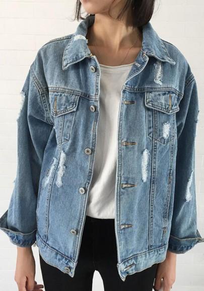 Denim veste déchiré manches longues boyfriend mode femme jean jacket bleu clair