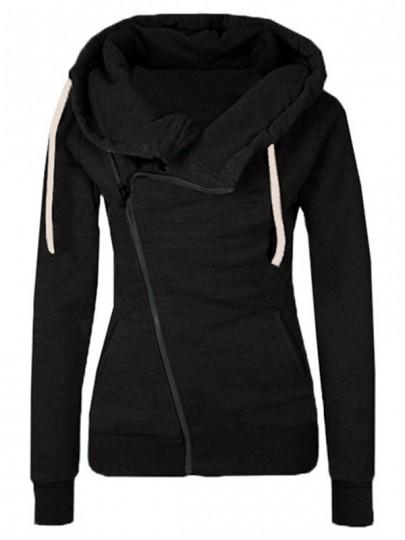 Sweatshirt à capuche latérales fermeture éclair manches longues décontracté femme naketano pull noir