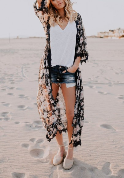 Schwarz Blumenprint Häkelspitze Chiffon Kimono Strand Günstig Lang Cover Up Damen Mode