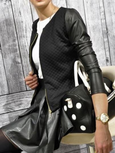 Black Patchwork PU Leather Zipper Round Neck Long Sleeve Fashion Jacket