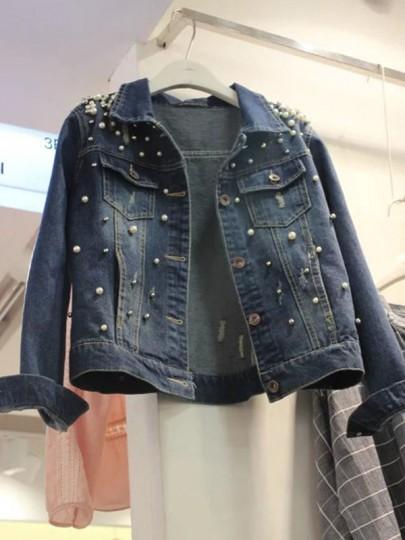 Dunkelblau Perlen Taschen Einreiher Große Größen Ausgefallene Oversize Jeansjacke Damen Mantel Günstig