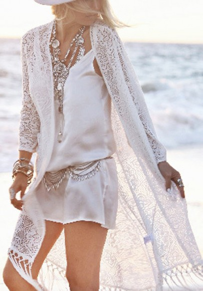 Weiß Quaste Cut Out Lace-Up Bikini Cover Up Smock Bohemian Cardigan Mantel Top Oberteile Damen