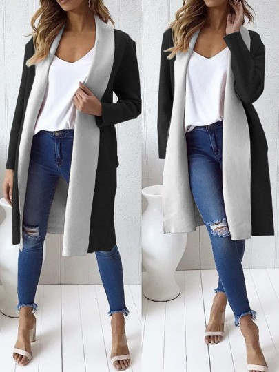 Black-White Patchwork Long Sleeve Casual Coat