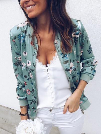 Green Floral Print Zipper Long Sleeve Fashion Jacket