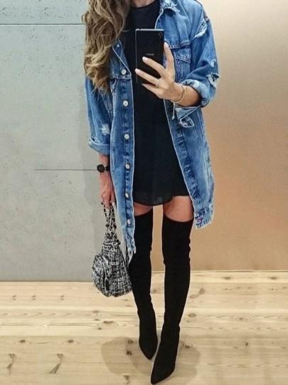 Blaue Taschen Einreiher Zerrissene Langarm Boyfreind Oversize Jeansjacke Lange Damen Mantel