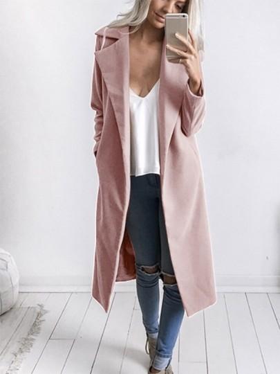 Mi-longue manteau en laine avec poches col à revers manches longues élégant femme blouson rose
