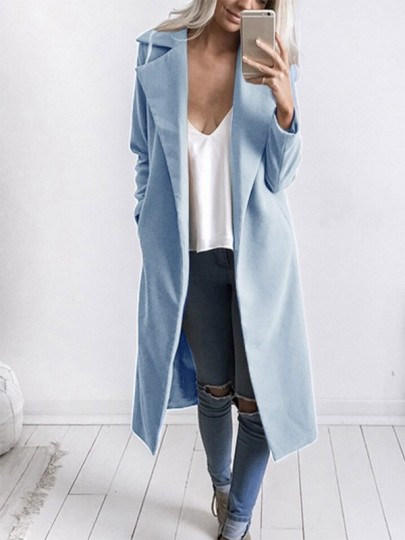 Light Blue Pocket Long Sleeve Tailored Collar Sweet Going out Wool Coat