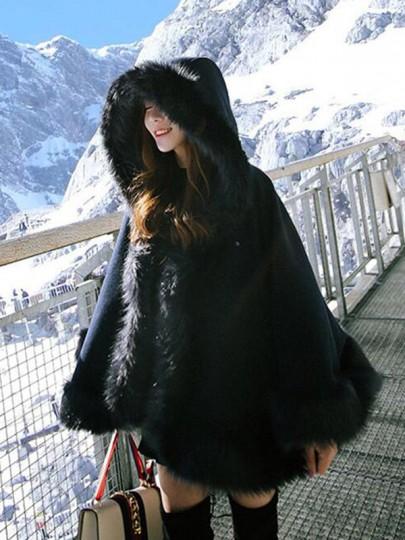 Manteau cape en laine avec fausse fourrure à capuche manches longues élégant décontracté noir femme
