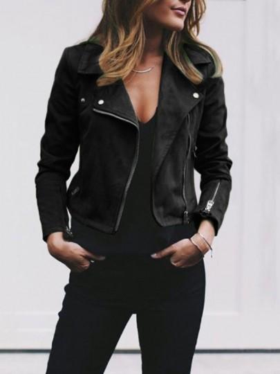 Schwarz Seitliche Reißverschluss Umlegekragen Langarm Beiläufige Wildleder Jacke Damen