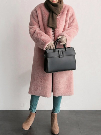 Pink Faux Fur Pockets V-neck Long Sleeve Fashion Furzzy Cardigan Outerwear