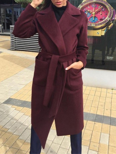 Wine Red Pockets Sashes Turndown Collar Long Sleeve Going out Wool Coat