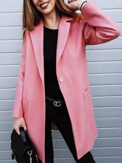 Pink Buttons Pockets Turndown Collar Long Sleeve Casual Outerwear