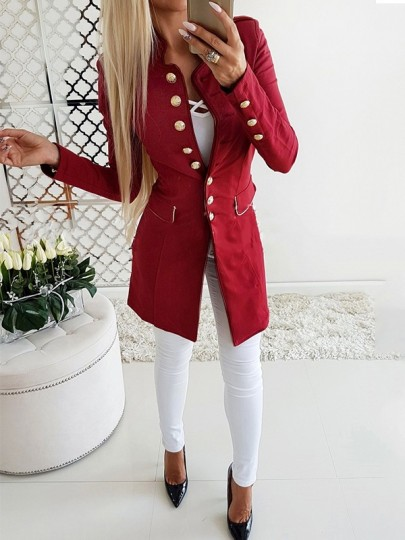 Red Single Breasted Pockets Turndown Collar Preppy Military Peacoat Outerwear