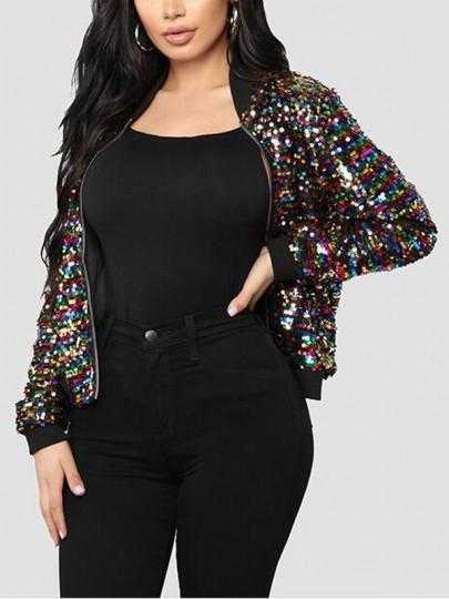 Schwarz Pailletten Glitzer Reissverschluss Langarm Mantel Jacke Blouson Damen Mode