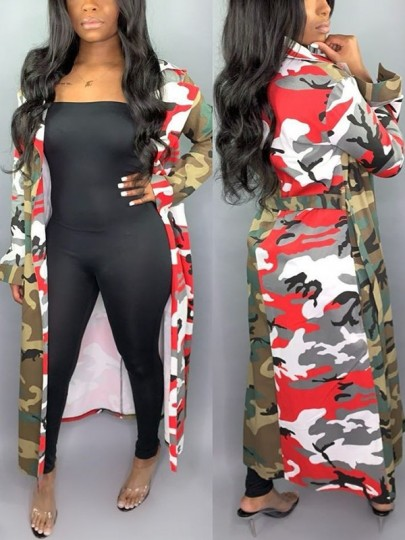 Red Camouflage Sashes Pockets Turndown Collar Long Sleeve Casual Trench Coat