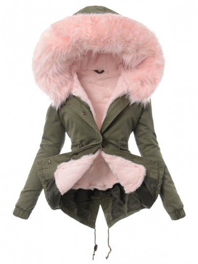 Army Green And Pink Lined Fleece Pocket Hooded Long Sleeve Fashion Parka Padded Coats