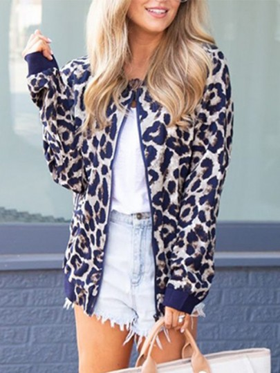 Blau Leopard Print Reissverschluss Kragenlos Langarm Mantel Blouson Jacken Damen Mode