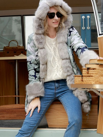 Grey Camouflage Patchwork Fur Drawstring Pockets Fashion Parka Camo Hooded Coat Outerwear