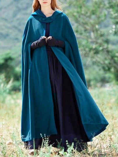 Blue Patchwork Cut Out Hooded Sleeveless Casual Cape Poncho Cloak Wool Outerwear
