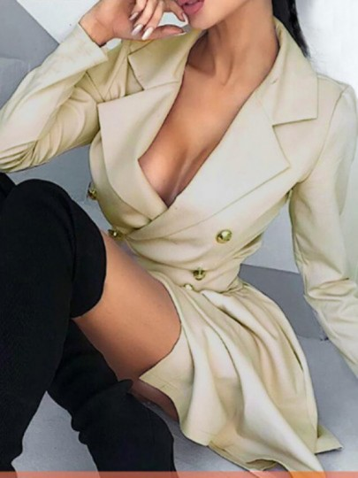 Beige Double Breasted Turndown Collar Skater Tutu Casual Trench Coat