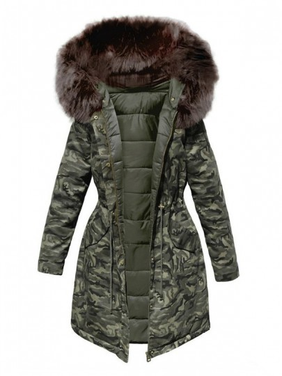 Green Camouflage Pockets Drawstring Zipper Fur Hooded Padded Coat