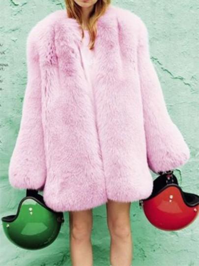 Capispalla eco-pelliccia senza collo manica lunga moda rosa