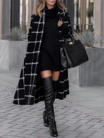 Schwarz Weiß Kariertes Gürtel Taschen Umlegekragen Langarm Elegantees Lange Wintermantel Wollmantel Damen