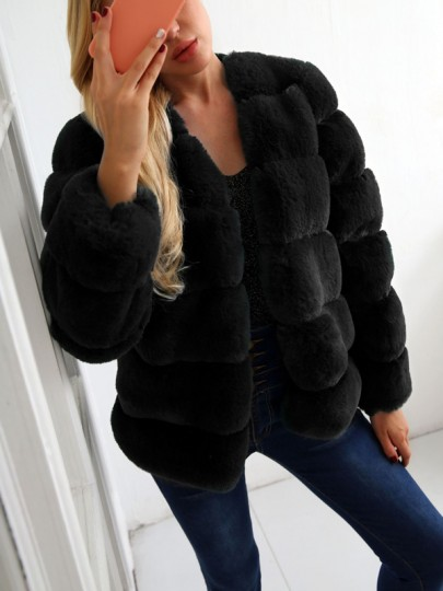 Schwarz Faux Fur Langarm Winter Warme Pelzmantel Fellimitat Felljacke Damen Mode